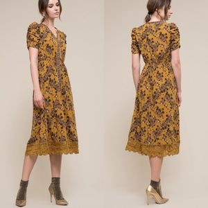 Moon River Floral Scallop Lace Hem Midi Dress